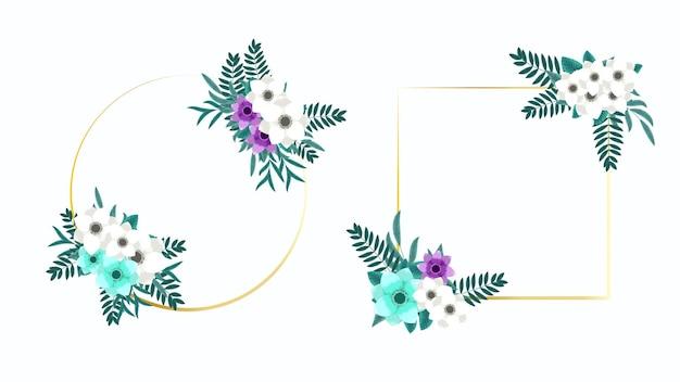 Ensemble d'éléments floraux vectoriels et de cadres de fleurs détaillés pour les promotions d'annonces de vente sur les réseaux sociaux