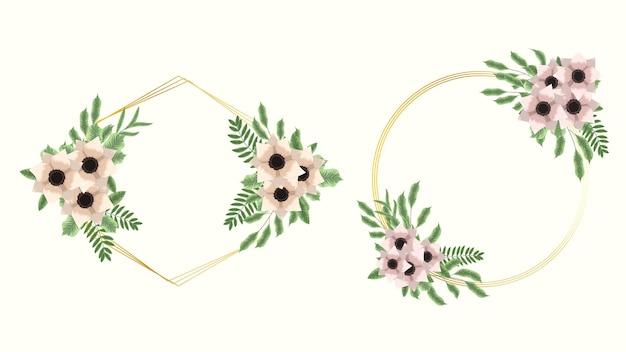 Ensemble d'éléments floraux vectoriels fleurs cadres cartes de voeux détaillées