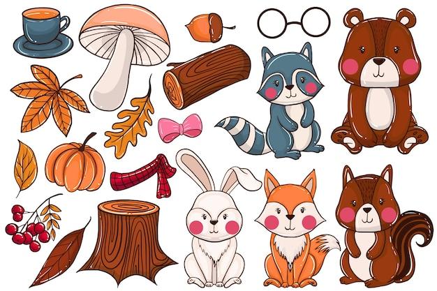 Ensemble d'éléments forestiers animaux d'automne