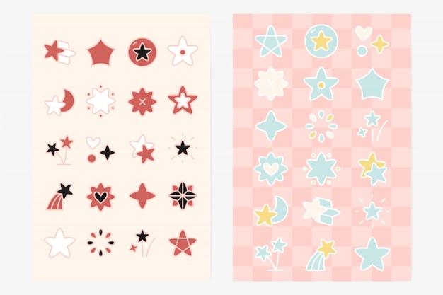 Ensemble d'éléments de forme d'étoile mignon