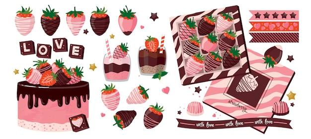 Ensemble d'éléments fraise au chocolat.