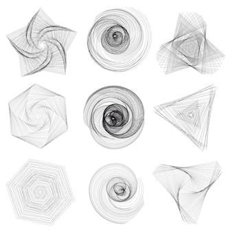 Ensemble d'éléments géométriques abstraits et formes sur fond blanc.