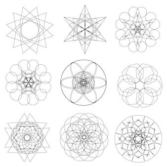 Ensemble d'éléments géométriques abstraits et formes