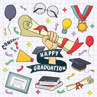 Ensemble d'éléments de graduation colorés dessinés à la main