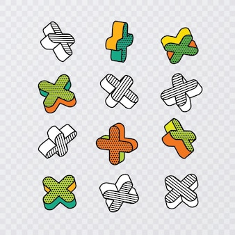 Ensemble d'éléments graphiques 3d colorés dans un style pop art, vecteur eps 10
