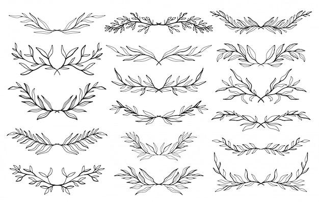 Ensemble d'éléments graphiques floraux de mariage, diviseurs, laurier. conception d'invitation décorative.
