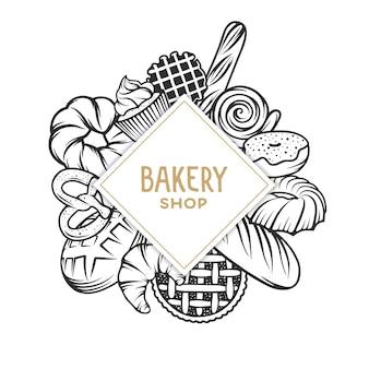 Ensemble d'éléments gravés de boulangerie.