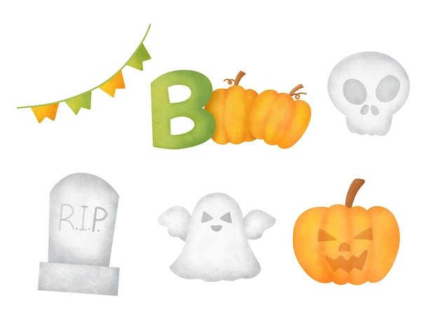 Ensemble d'éléments d'halloween aquarelle