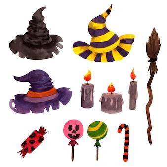 Ensemble d'éléments d'halloween avec des chapeaux de sorcière et des bougies
