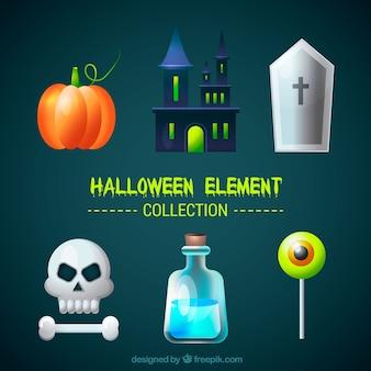 Ensemble d'éléments halloween avec château et crâne