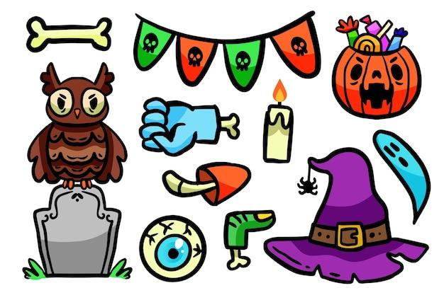 Ensemble d'éléments halloween design dessiné à la main