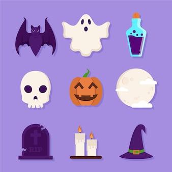 Ensemble d'éléments d'halloween design plat
