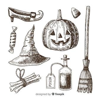 Ensemble d'éléments halloween dessinés à la main