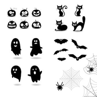 Ensemble d'éléments d'halloween, ensemble de citrouilles, silhouette de citrouille, chat noir pour l'ensemble d'halloween, silhouette de chat, ensemble de silhouettes fantômes, silhouette de chauve-souris, toile d'araignée et araignée. illustration vectorielle