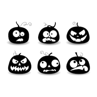 Ensemble d'éléments d'halloween, ensemble de citrouilles, silhouette de citrouille, illustration vectorielle