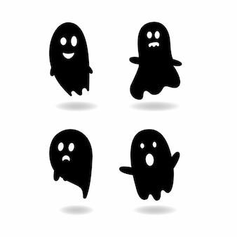 Ensemble d'éléments d'halloween, ensemble de silhouettes fantômes. illustration vectorielle pour halloween