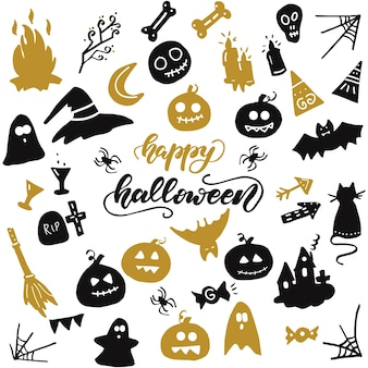 Ensemble d'éléments d'halloween. illustration vectorielle