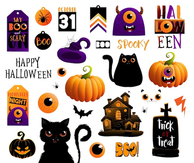 Ensemble d'éléments d'halloween, illustrations vectorielles avec lettrage