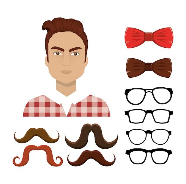 Ensemble d'éléments hipster
