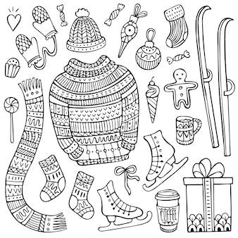 Ensemble d'éléments d'hiver et de noël dessinés à la main