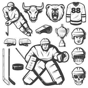 Ensemble d'éléments de hockey vintage