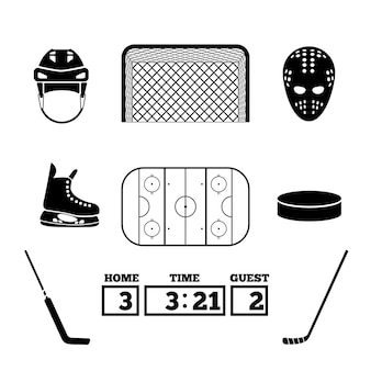Ensemble d'éléments de hockey.