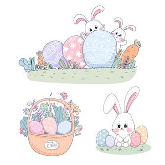 Ensemble d'éléments d'illustration de pâques lapin
