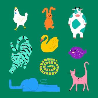 Ensemble d'éléments d'illustrations animales colorées