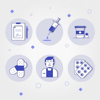 Ensemble d'éléments illustrés de pharmacien