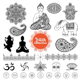 Ensemble d'éléments de l'inde dessinés à la main