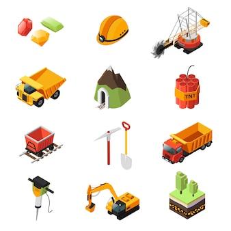 Ensemble d'éléments de l'industrie minière isométrique