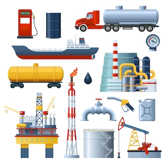 Ensemble d'éléments de l'industrie pétrolière