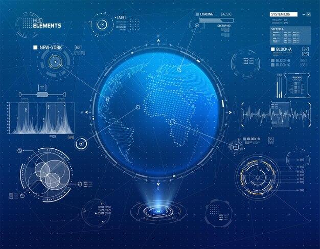 Ensemble d'éléments d'infographie pour les interfaces de science-fiction hud
