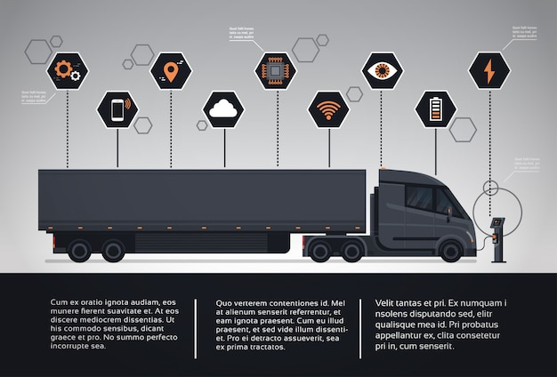 Ensemble d'éléments d'infographie avec remorque semi moderne chargeant à la station de chargement electic