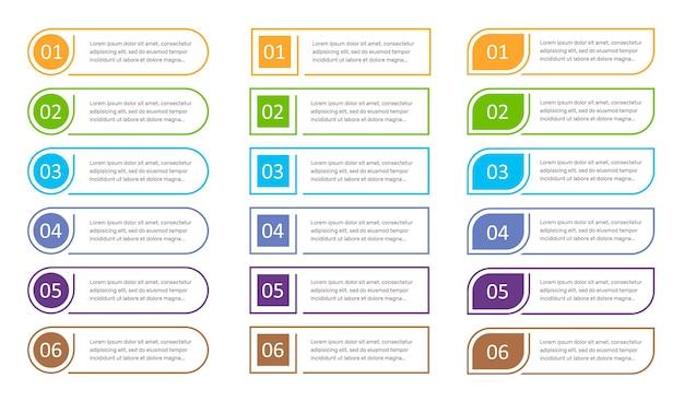 Ensemble d'éléments infographiques de 6 étapes, options.