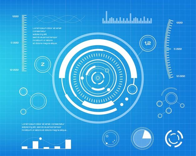 Ensemble d'éléments infographiques blancs. éléments d'affichage tête haute pour le web et l'application. interface utilisateur futuriste graphique virtuel