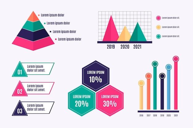 Ensemble d'éléments infographiques colorés plats