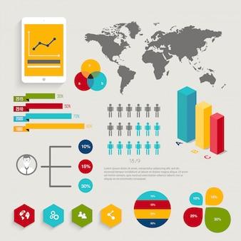 Ensemble d'éléments infographiques dans un style d'affaires plat moderne.