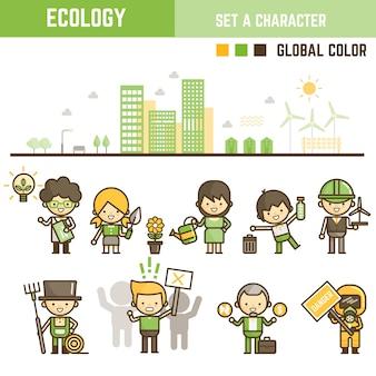 Ensemble d'éléments infographiques d'écologie