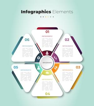 Un ensemble d'éléments infographiques élégants en 6 étapes avec effet de dégradé