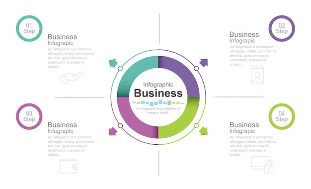 Ensemble d'éléments infographiques illustration stock infographie numéro 4 étapes du cercle partie de