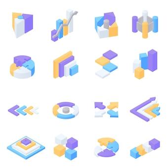 Ensemble d'éléments infographiques isométriques colorés