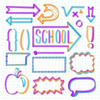 Ensemble d'éléments infographiques scolaires colorés