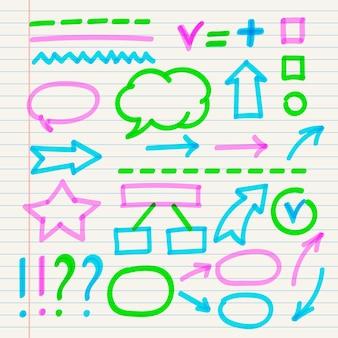 Ensemble d'éléments infographiques scolaires avec des marqueurs colorés