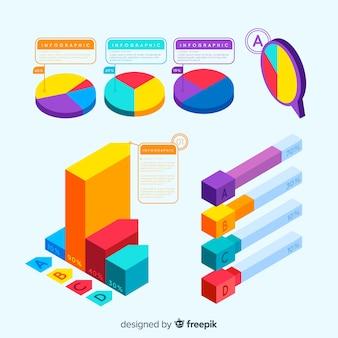 Ensemble d'éléments infographiques avec vue isométrique