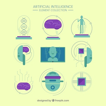 Ensemble d'éléments d'intelligence artificielle en design plat