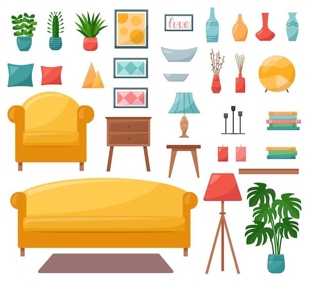 Ensemble d'éléments intérieurs pour salon, illustration vectorielle