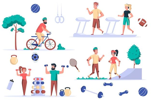 Ensemble d'éléments isolés de l'activité de remise en forme ensemble de personnes sportives sur des tapis roulants à vélo