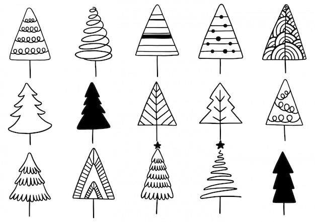 Ensemble d'éléments isolés d'arbre de noël dessinés à la main.