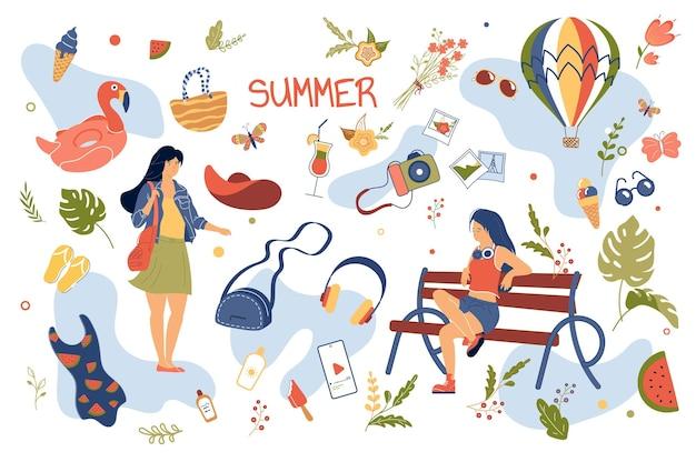 Ensemble d'éléments isolés de concept d'été